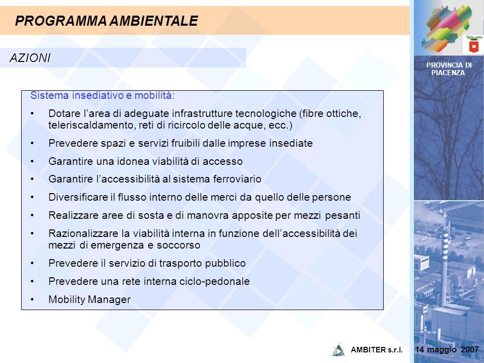 PROVINCIA DI PIACENZA PROGRAMMA AMBIENTALE AZIONI Sistema insediativo e mobilità: Dotare larea di adeguate infrastrutture tecnologiche (fibre ottiche,