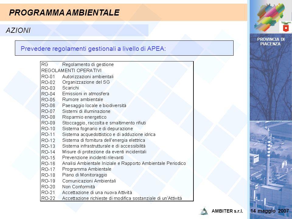 PROVINCIA DI PIACENZA PROGRAMMA AMBIENTALE AZIONI Prevedere regolamenti gestionali a livello di APEA: 14 maggio 2007 AMBITER s.r.l.