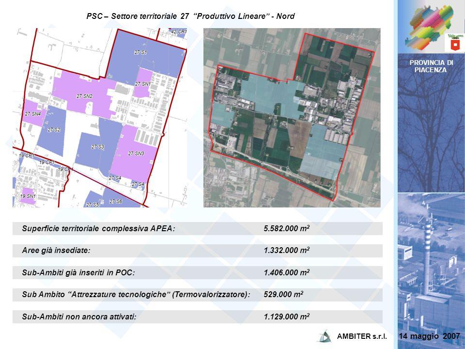 PROVINCIA DI PIACENZA Superficie territoriale complessiva APEA:5.582.000 m 2 Aree già insediate:1.332.000 m 2 Sub-Ambiti già inseriti in POC:1.406.000