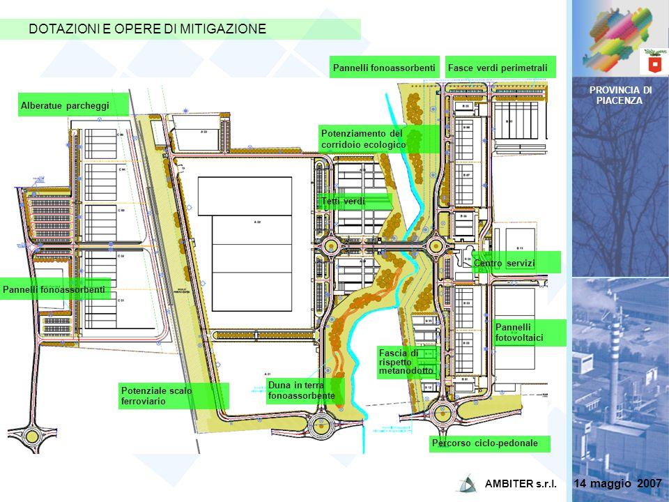 PROVINCIA DI PIACENZA DOTAZIONI E OPERE DI MITIGAZIONE Potenziamento del corridoio ecologico Potenziale scalo ferroviario Alberatue parcheggi Pannelli