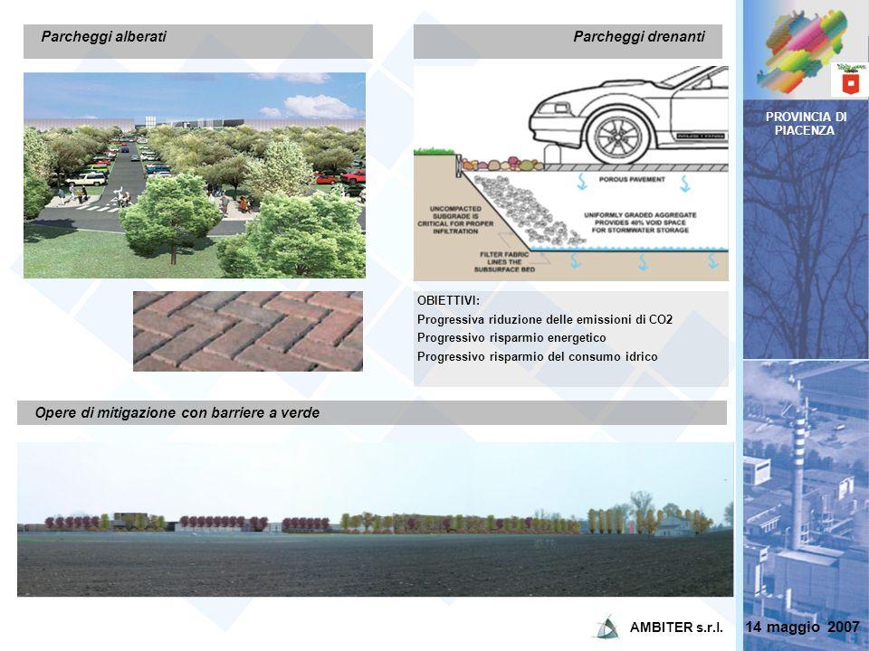 PROVINCIA DI PIACENZA Parcheggi alberati Opere di mitigazione con barriere a verde Parcheggi drenanti OBIETTIVI: Progressiva riduzione delle emissioni