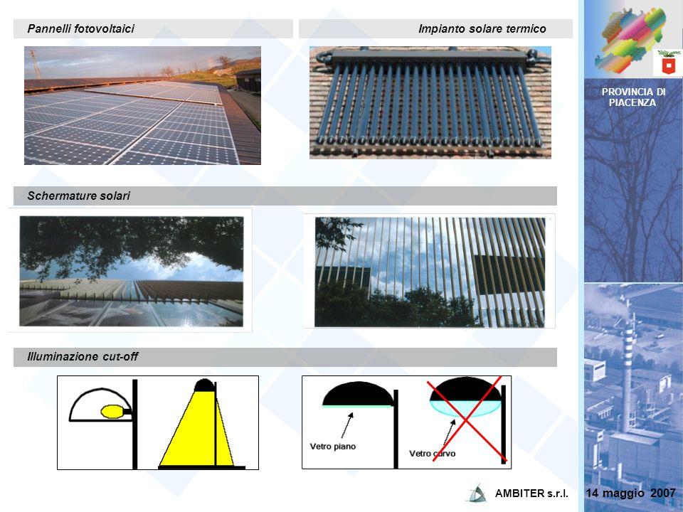 PROVINCIA DI PIACENZA Schermature solari Illuminazione cut-off Pannelli fotovoltaiciImpianto solare termico 14 maggio 2007 AMBITER s.r.l.