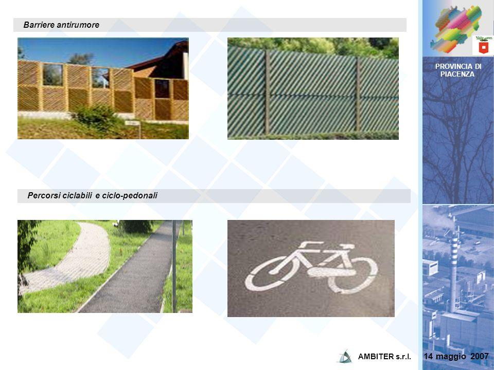PROVINCIA DI PIACENZA Percorsi ciclabili e ciclo-pedonali Barriere antirumore 14 maggio 2007 AMBITER s.r.l.
