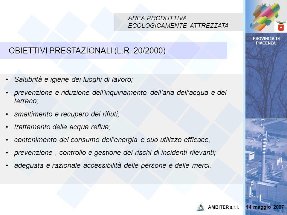 PROVINCIA DI PIACENZA AREA PRODUTTIVA ECOLOGICAMENTE ATTREZZATA OBIETTIVI PRESTAZIONALI (L.R. 20/2000) Salubrità e igiene dei luoghi di lavoro; preven