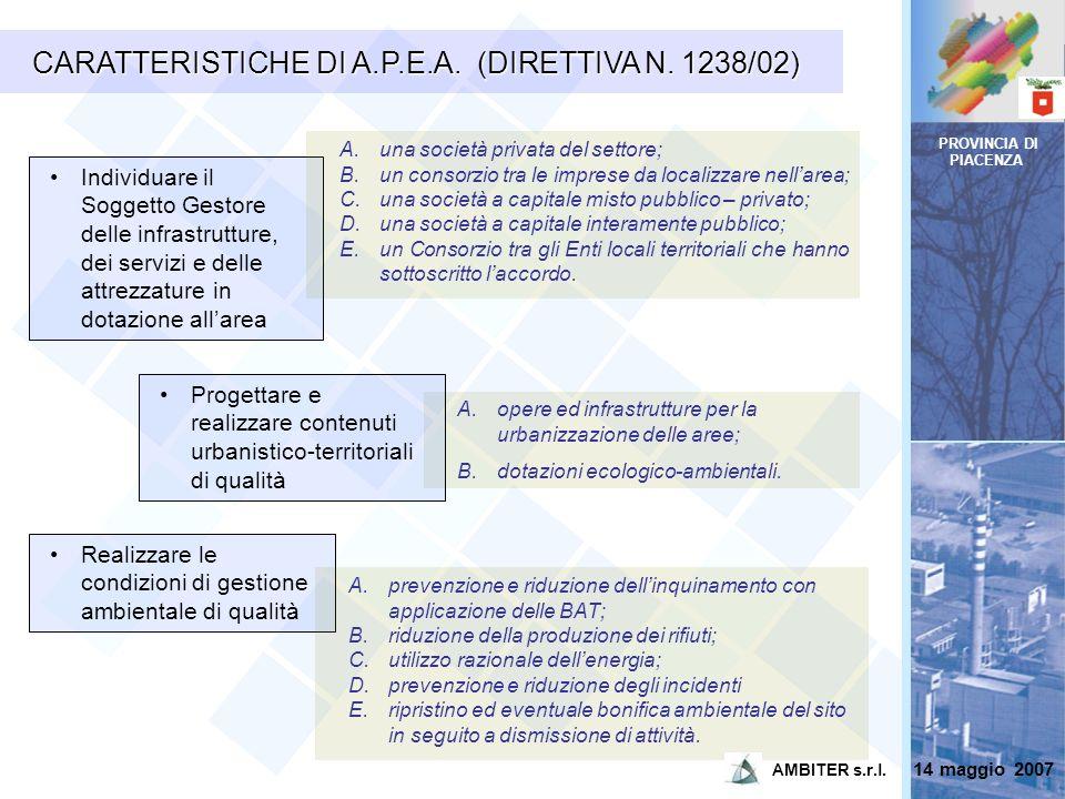 PROVINCIA DI PIACENZA CARATTERISTICHE DI A.P.E.A. (DIRETTIVA N. 1238/02) Individuare il Soggetto Gestore delle infrastrutture, dei servizi e delle att