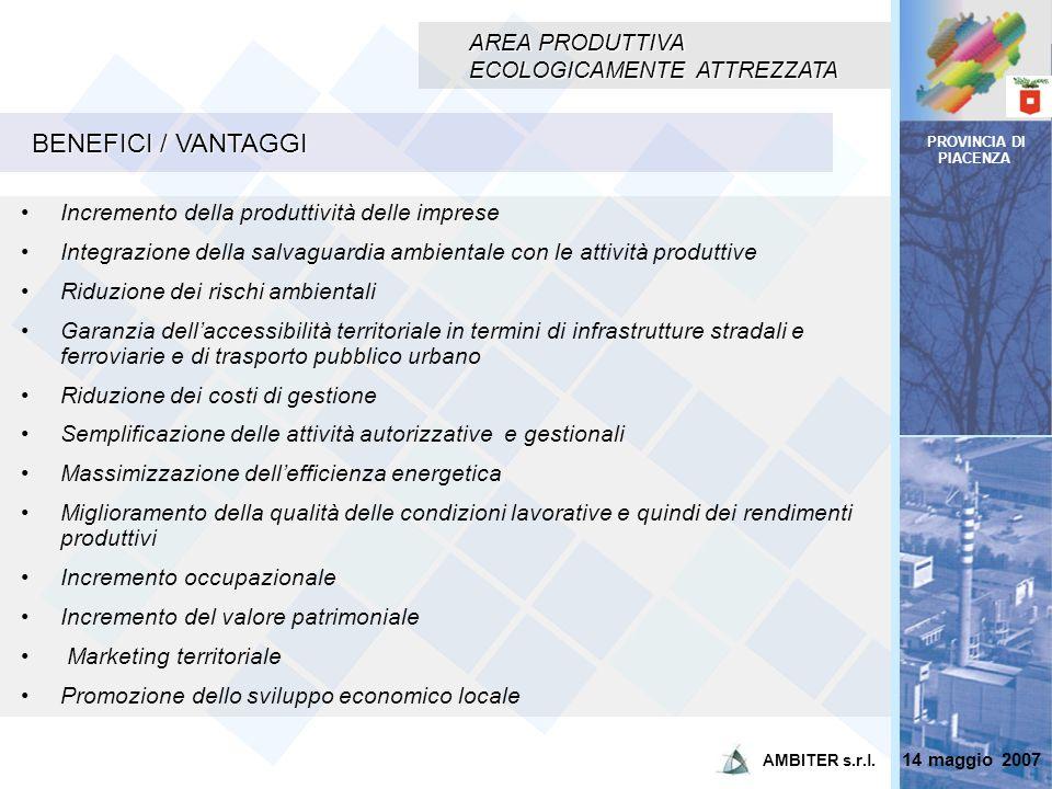 PROVINCIA DI PIACENZA AREA PRODUTTIVA ECOLOGICAMENTE ATTREZZATA BENEFICI / VANTAGGI Incremento della produttività delle imprese Integrazione della sal