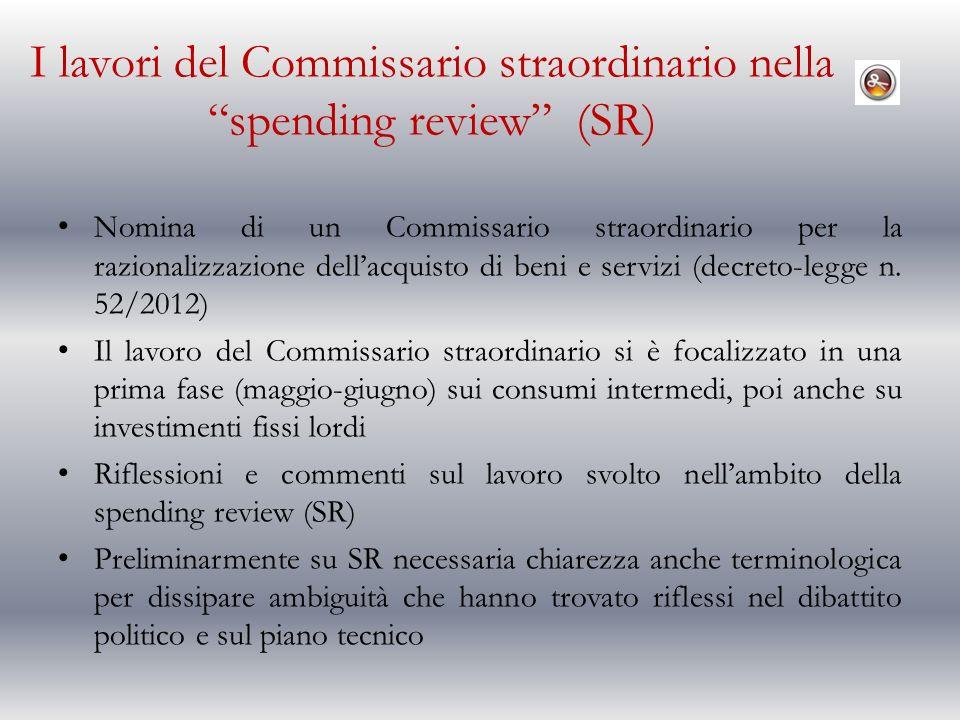 I lavori del Commissario straordinario nella spending review (SR) Nomina di un Commissario straordinario per la razionalizzazione dellacquisto di beni e servizi (decreto-legge n.