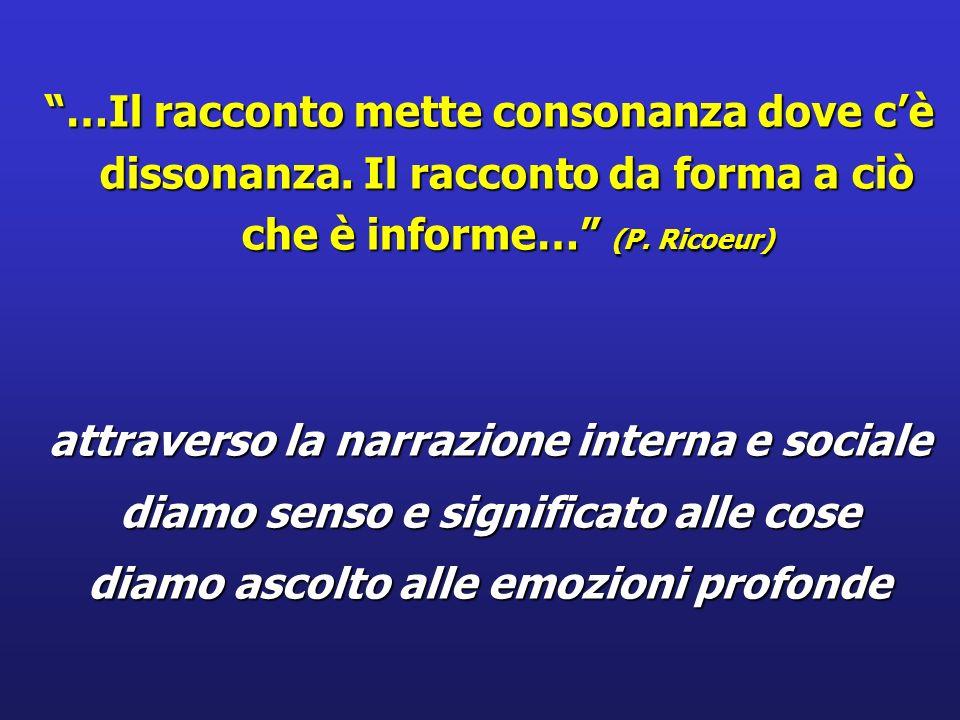 …Il racconto mette consonanza dove cè dissonanza. Il racconto da forma a ciò che è informe… (P. Ricoeur) attraverso la narrazione interna e sociale di