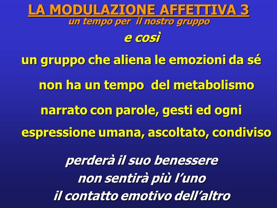 LA MODULAZIONE AFFETTIVA 3 un tempo per il nostro gruppo e così un gruppo che aliena le emozioni da sé non ha un tempo del metabolismo non ha un tempo