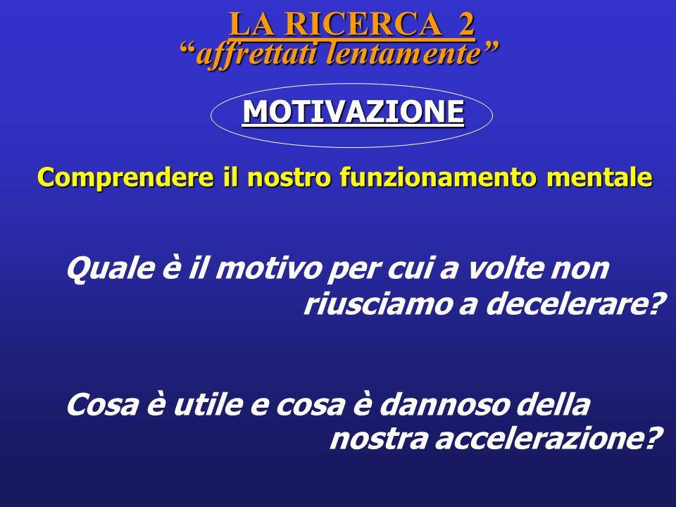 LA RICERCA 2affrettati lentamente LA RICERCA 2affrettati lentamente MOTIVAZIONE MOTIVAZIONE Comprendere il nostro funzionamento mentale Quale è il mot
