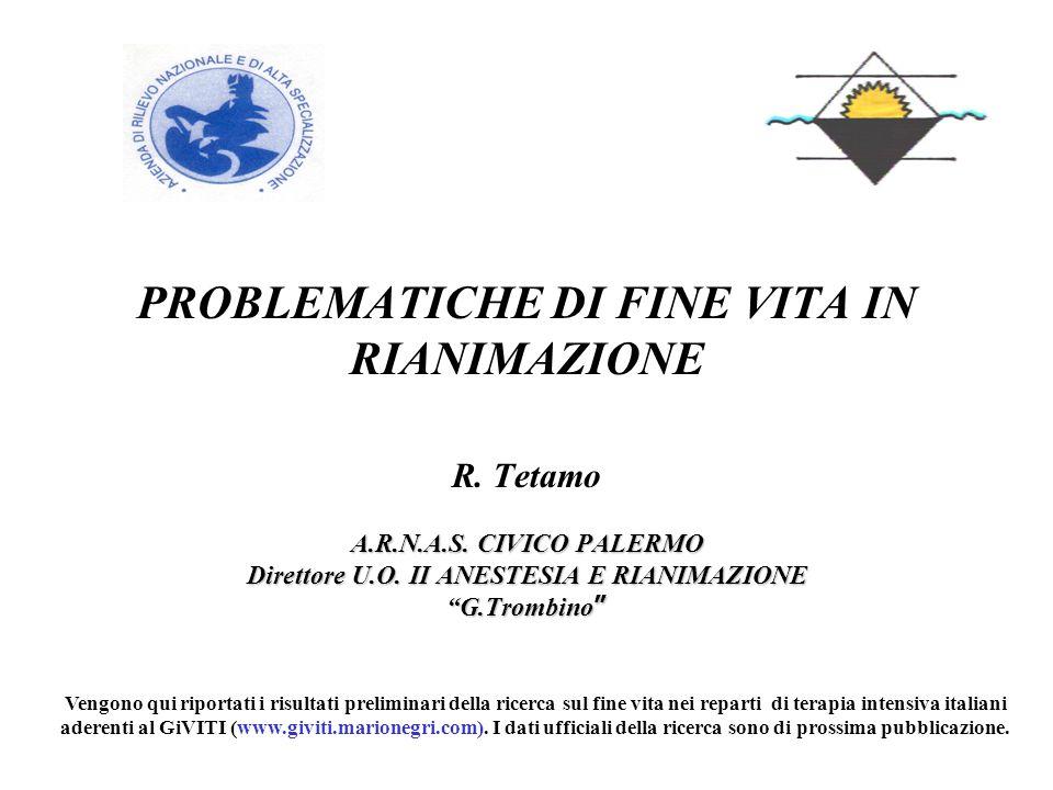 PROBLEMATICHE DI FINE VITA IN RIANIMAZIONE R. Tetamo A.R.N.A.S. CIVICO PALERMO Direttore U.O. II ANESTESIA E RIANIMAZIONE G.Trombino G.Trombino Vengon