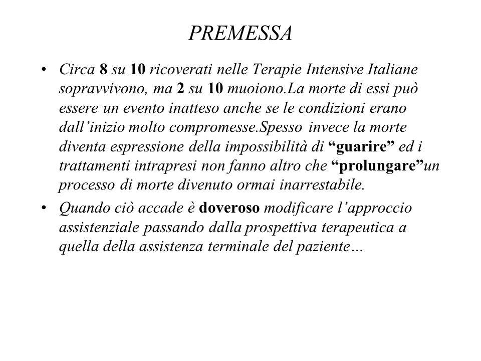 Circa 8 su 10 ricoverati nelle Terapie Intensive Italiane sopravvivono, ma 2 su 10 muoiono.La morte di essi può essere un evento inatteso anche se le