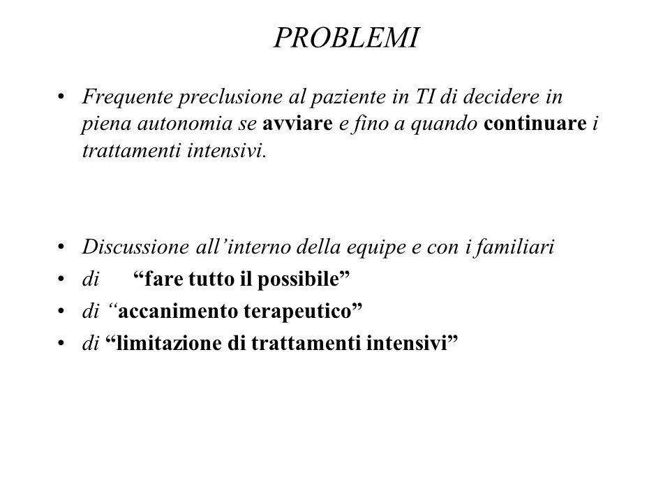 PROBLEMI Frequente preclusione al paziente in TI di decidere in piena autonomia se avviare e fino a quando continuare i trattamenti intensivi. Discuss