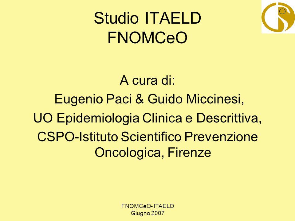 FNOMCeO- ITAELD Giugno 2007 Il campione dei medici dello studio ITAELD 8950 medici aziendali e universitari (su 22738) 5710 medici di Medicina Generale dalle (su 5710) Limiti di età: 30 – 65 anni NORD 30,8% CENTRO 22,1% SUD 47,1%