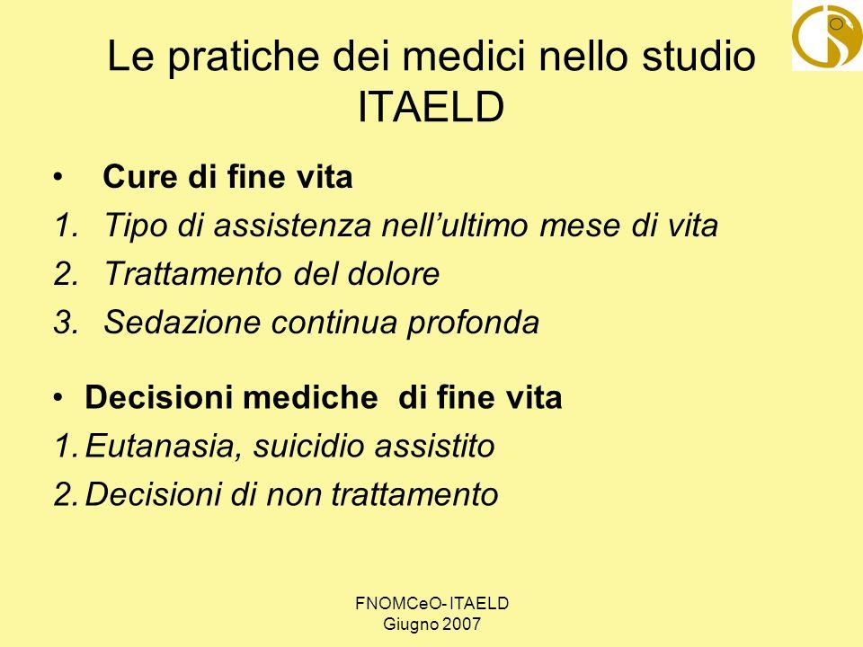 FNOMCeO- ITAELD Giugno 2007 Le pratiche dei medici nello studio ITAELD Cure di fine vita 1.Tipo di assistenza nellultimo mese di vita 2.Trattamento de