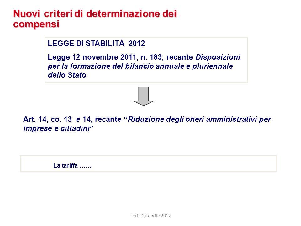 Art. 14, co. 13 e 14, recante Riduzione degli oneri amministrativi per imprese e cittadini Nuovi criteri di determinazione dei compensi LEGGE DI STABI