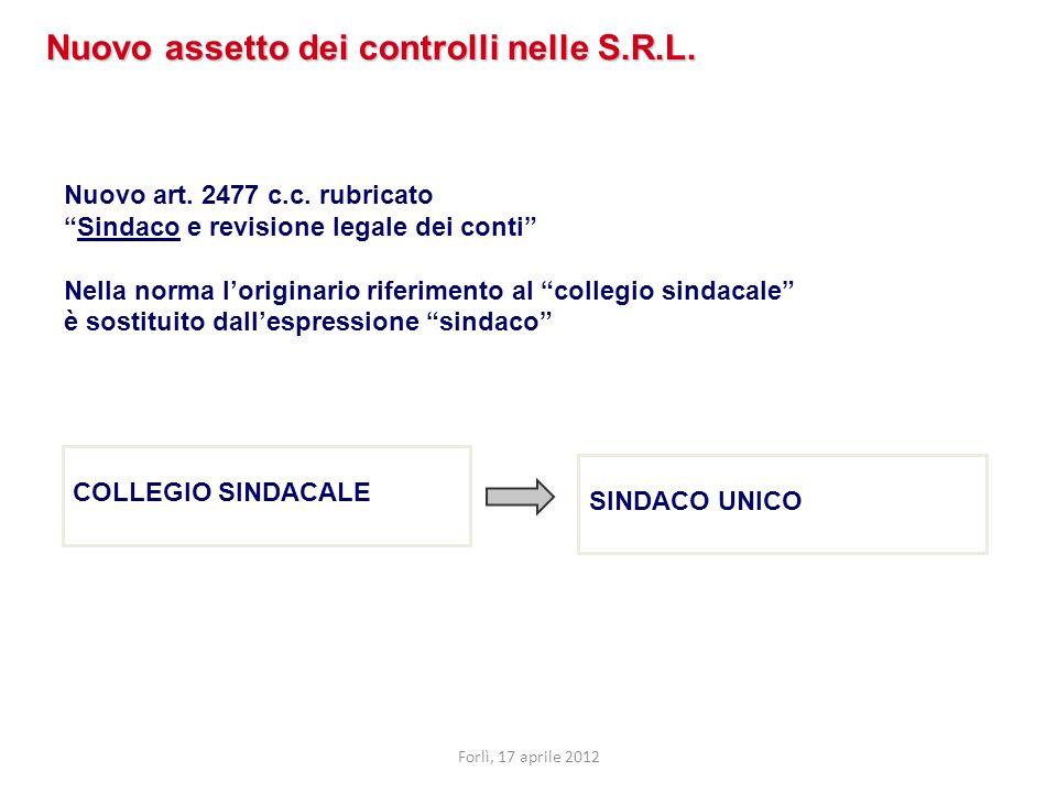 Nuovo art. 2477 c.c. rubricato Sindaco e revisione legale dei conti Nella norma loriginario riferimento al collegio sindacale è sostituito dallespress