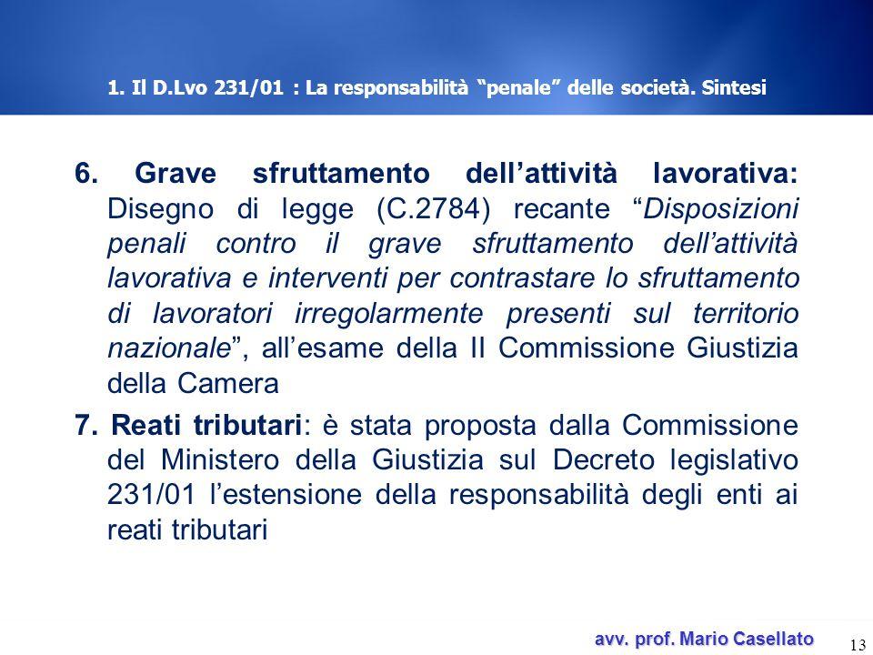 avv. prof. Mario Casellato avv. prof. Mario Casellato 1. Il D.Lvo 231/01 : La responsabilità penale delle società. Sintesi 6. Grave sfruttamento della
