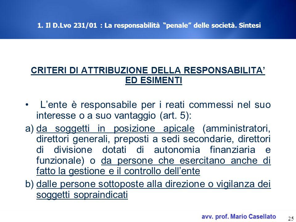 avv. prof. Mario Casellato avv. prof. Mario Casellato 25 1. Il D.Lvo 231/01 : La responsabilità penale delle società. Sintesi CRITERI DI ATTRIBUZIONE
