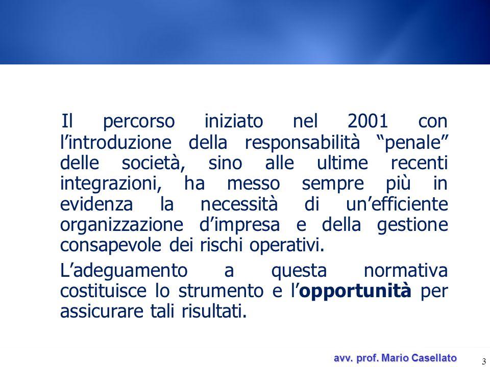 avv. prof. Mario Casellato avv. prof. Mario Casellato 3 Il percorso iniziato nel 2001 con lintroduzione della responsabilità penale delle società, sin