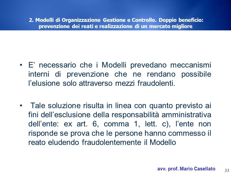 avv. prof. Mario Casellato avv. prof. Mario Casellato 33 2. Modelli di Organizzazione Gestione e Controllo. Doppio beneficio: prevenzione dei reati e