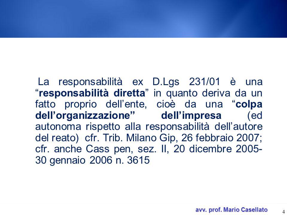 avv. prof. Mario Casellato avv. prof. Mario Casellato La responsabilità ex D.Lgs 231/01 è unaresponsabilità diretta in quanto deriva da un fatto propr
