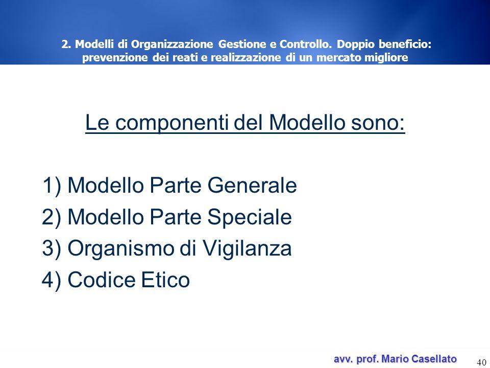 avv. prof. Mario Casellato avv. prof. Mario Casellato 40 2. Modelli di Organizzazione Gestione e Controllo. Doppio beneficio: prevenzione dei reati e