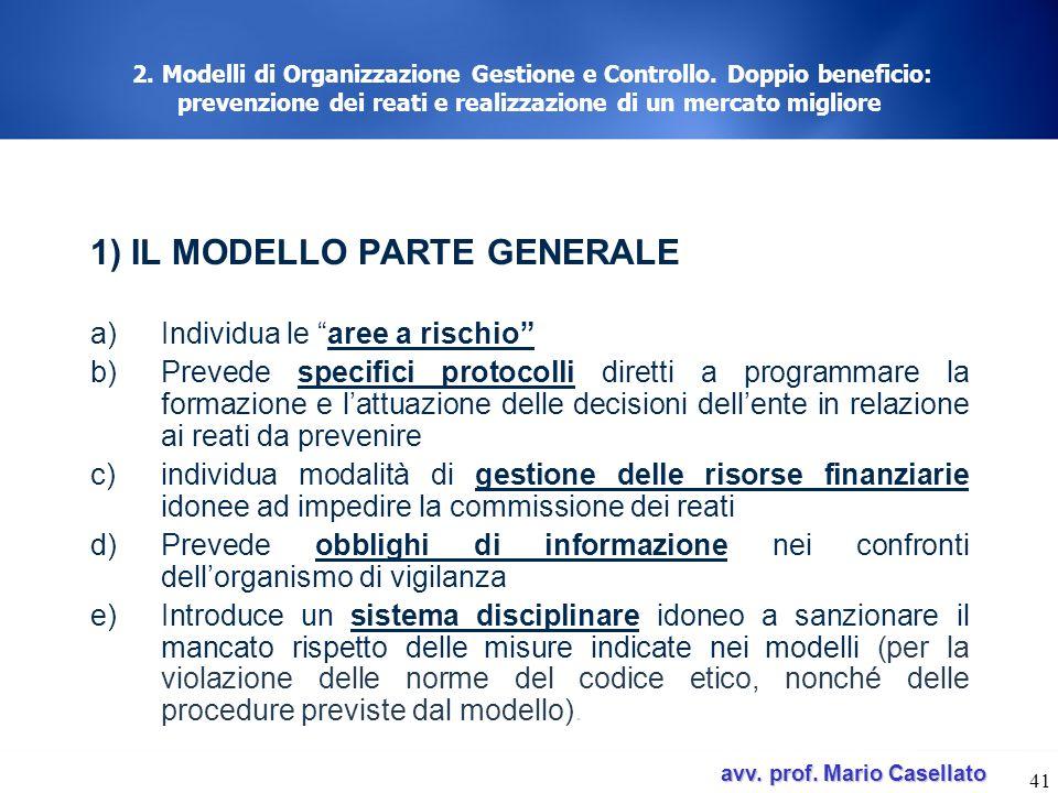 avv. prof. Mario Casellato avv. prof. Mario Casellato 41 2. Modelli di Organizzazione Gestione e Controllo. Doppio beneficio: prevenzione dei reati e