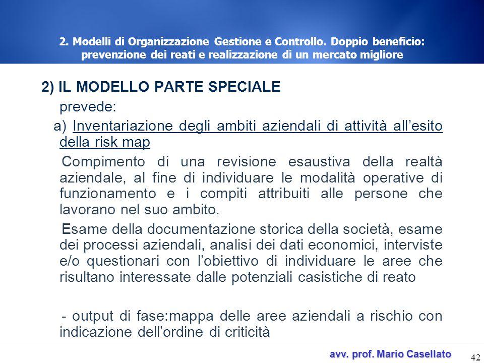 avv. prof. Mario Casellato avv. prof. Mario Casellato 42 2. Modelli di Organizzazione Gestione e Controllo. Doppio beneficio: prevenzione dei reati e