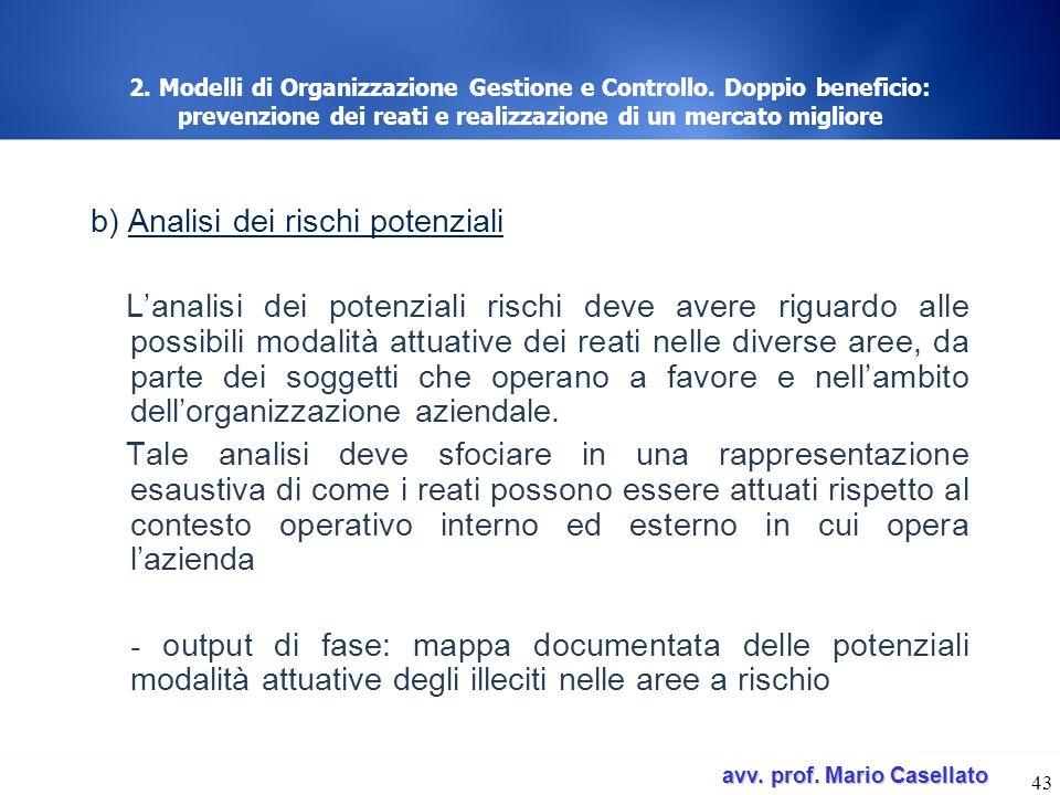avv. prof. Mario Casellato avv. prof. Mario Casellato 43 2. Modelli di Organizzazione Gestione e Controllo. Doppio beneficio: prevenzione dei reati e