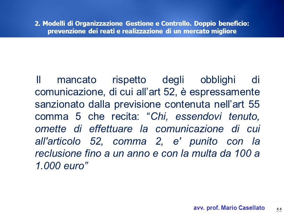 avv. prof. Mario Casellato avv. prof. Mario Casellato 55 2. Modelli di Organizzazione Gestione e Controllo. Doppio beneficio: prevenzione dei reati e