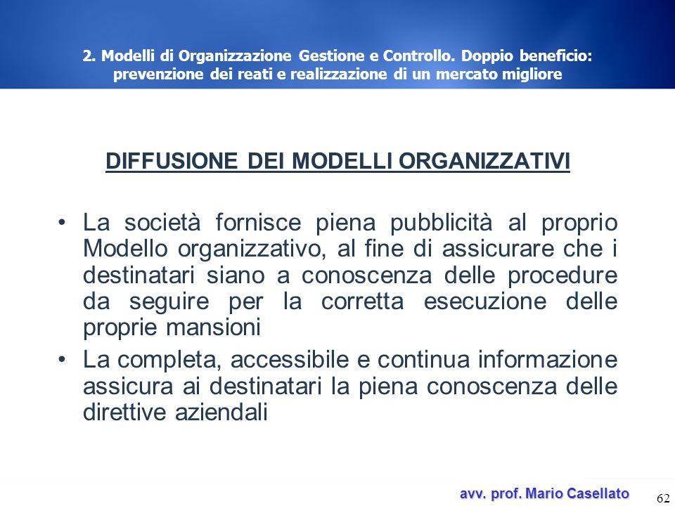 avv. prof. Mario Casellato avv. prof. Mario Casellato 62 2. Modelli di Organizzazione Gestione e Controllo. Doppio beneficio: prevenzione dei reati e