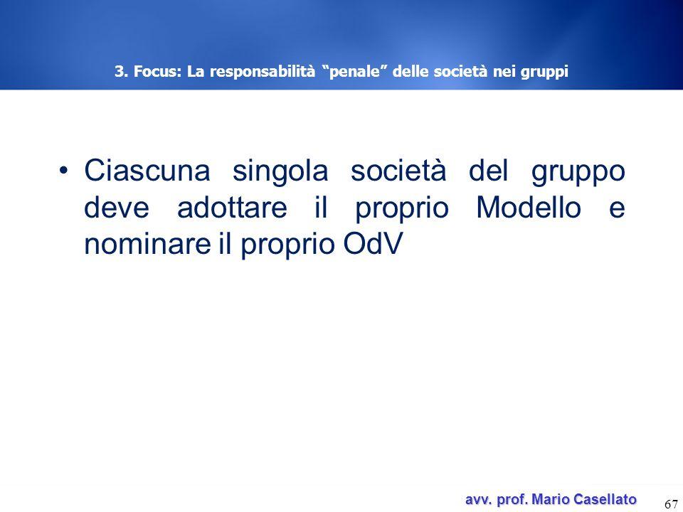 avv. prof. Mario Casellato avv. prof. Mario Casellato 3. Focus: La responsabilità penale delle società nei gruppi Ciascuna singola società del gruppo
