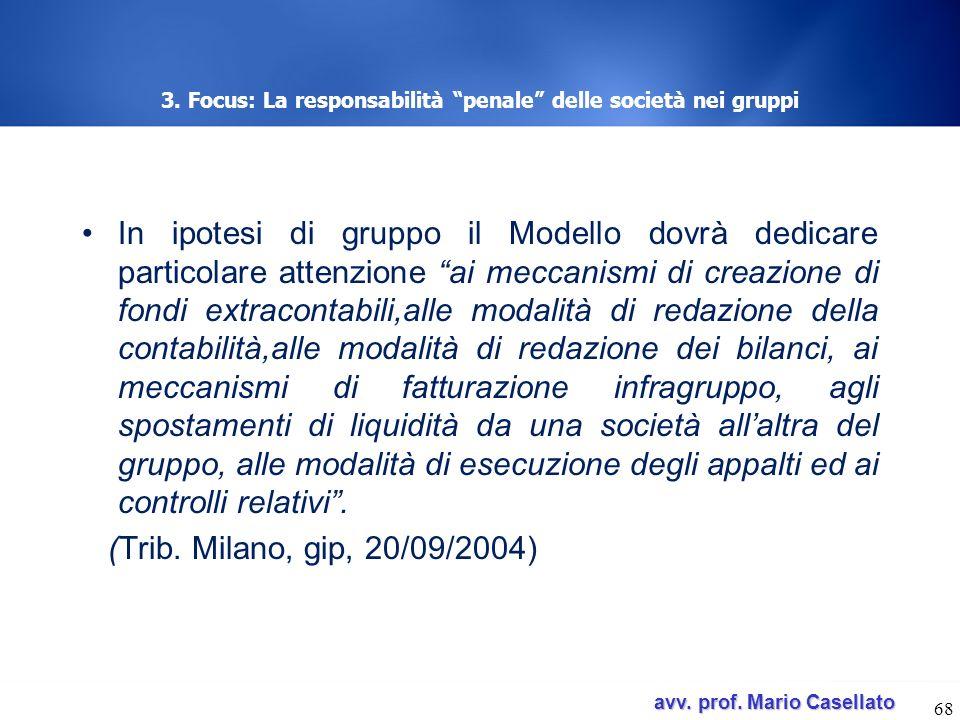 avv. prof. Mario Casellato avv. prof. Mario Casellato 3. Focus: La responsabilità penale delle società nei gruppi In ipotesi di gruppo il Modello dovr