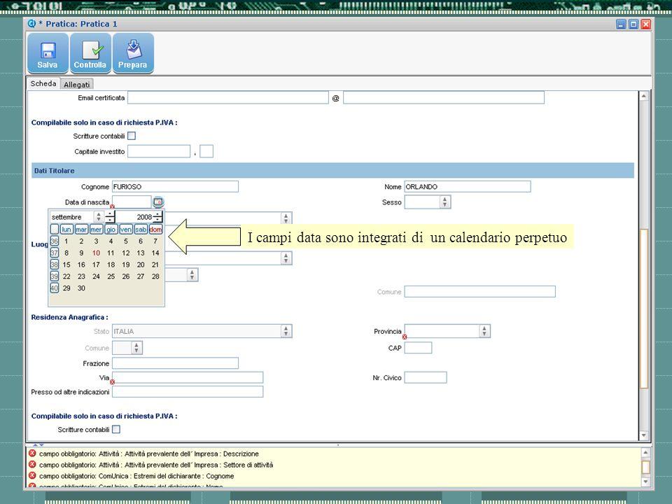 I campi data sono integrati di un calendario perpetuo