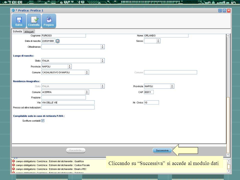 Cliccando su Successiva si accede al modulo dati