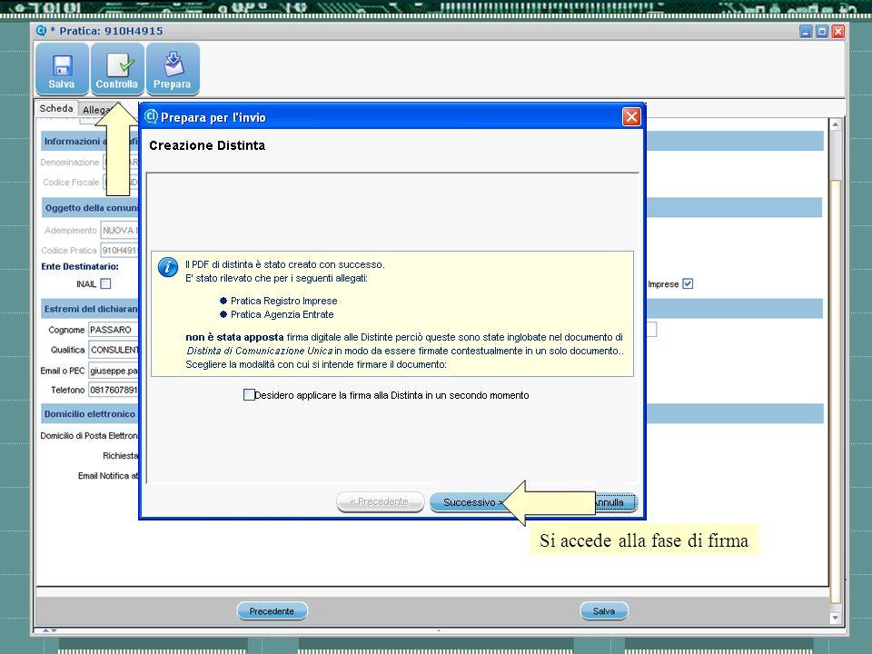 Cliccando su prepara il sistema chiude la pratica Si accede alla fase di firma