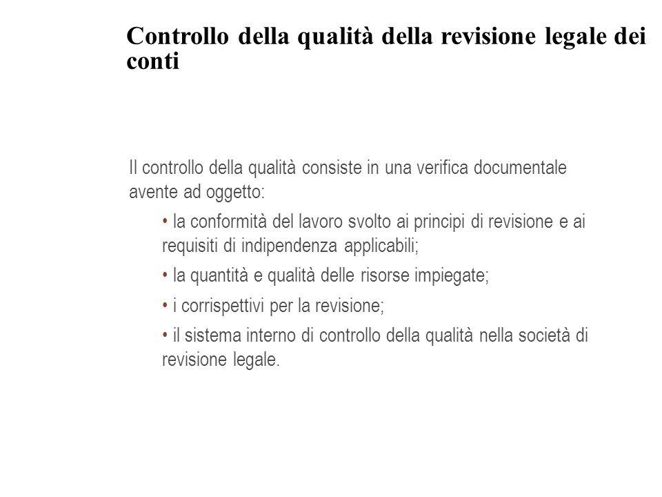 Controllo della qualità della revisione legale dei conti Il controllo della qualità consiste in una verifica documentale avente ad oggetto: la conform