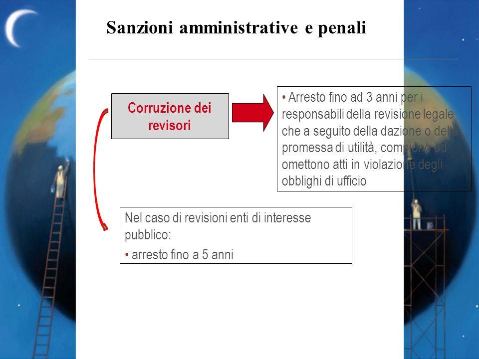 Sanzioni amministrative e penali Corruzione dei revisori Arresto fino ad 3 anni per i responsabili della revisione legale che a seguito della dazione