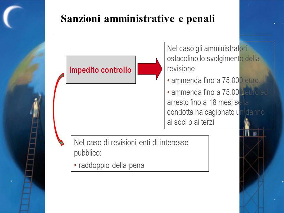 Sanzioni amministrative e penali Impedito controllo Nel caso gli amministratori ostacolino lo svolgimento della revisione: ammenda fino a 75.000 euro;