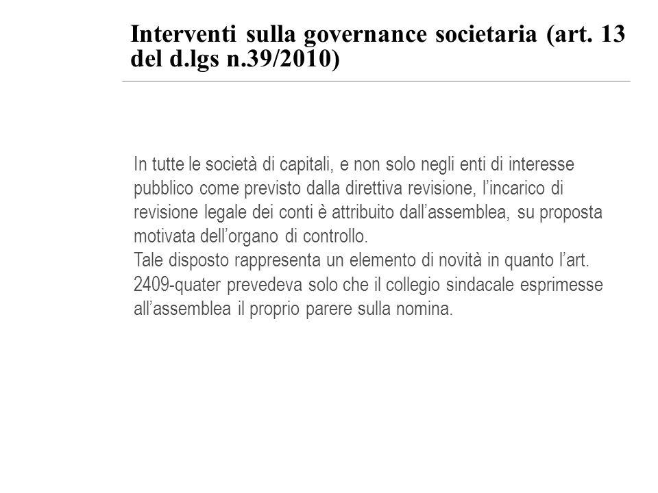 In tutte le società di capitali, e non solo negli enti di interesse pubblico come previsto dalla direttiva revisione, lincarico di revisione legale de