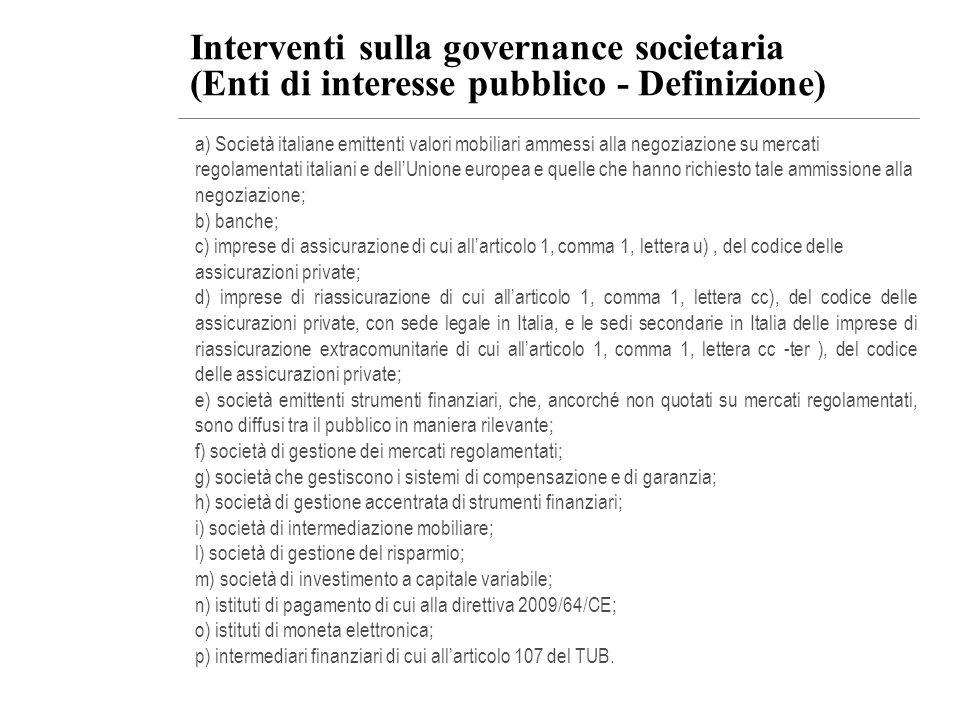 Interventi sulla governance societaria (Enti di interesse pubblico - Definizione) a) Società italiane emittenti valori mobiliari ammessi alla negoziaz