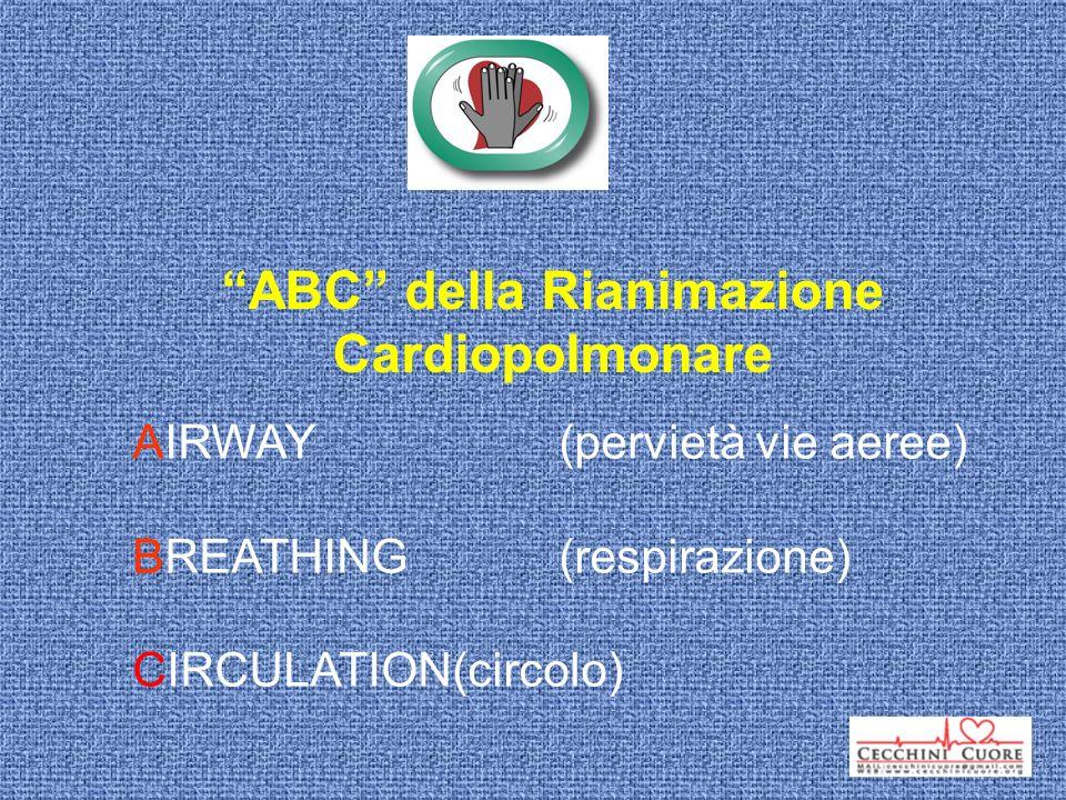 ABC della Rianimazione Cardiopolmonare AIRWAY(pervietà vie aeree) BREATHING(respirazione) CIRCULATION(circolo)