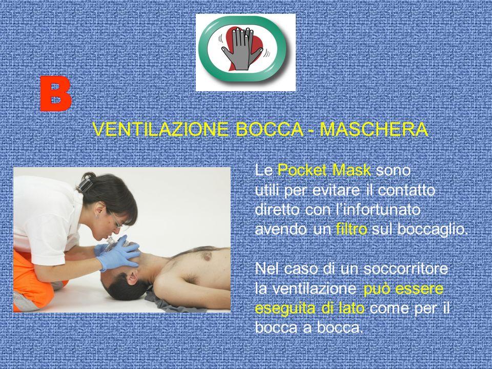 VENTILAZIONE BOCCA - MASCHERA Le Pocket Mask sono utili per evitare il contatto diretto con linfortunato avendo un filtro sul boccaglio. Nel caso di u
