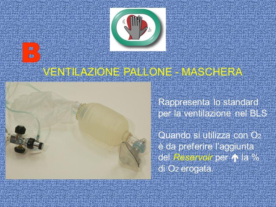 VENTILAZIONE PALLONE - MASCHERA Rappresenta lo standard per la ventilazione nel BLS Quando si utilizza con O 2 è da preferire laggiunta del Reservoir
