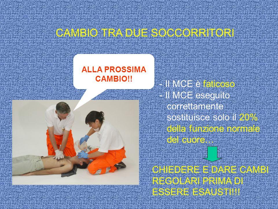 CAMBIO TRA DUE SOCCORRITORI ALLA PROSSIMA CAMBIO!! - Il MCE è faticoso - Il MCE eseguito correttamente sostituisce solo il 20% della funzione normale