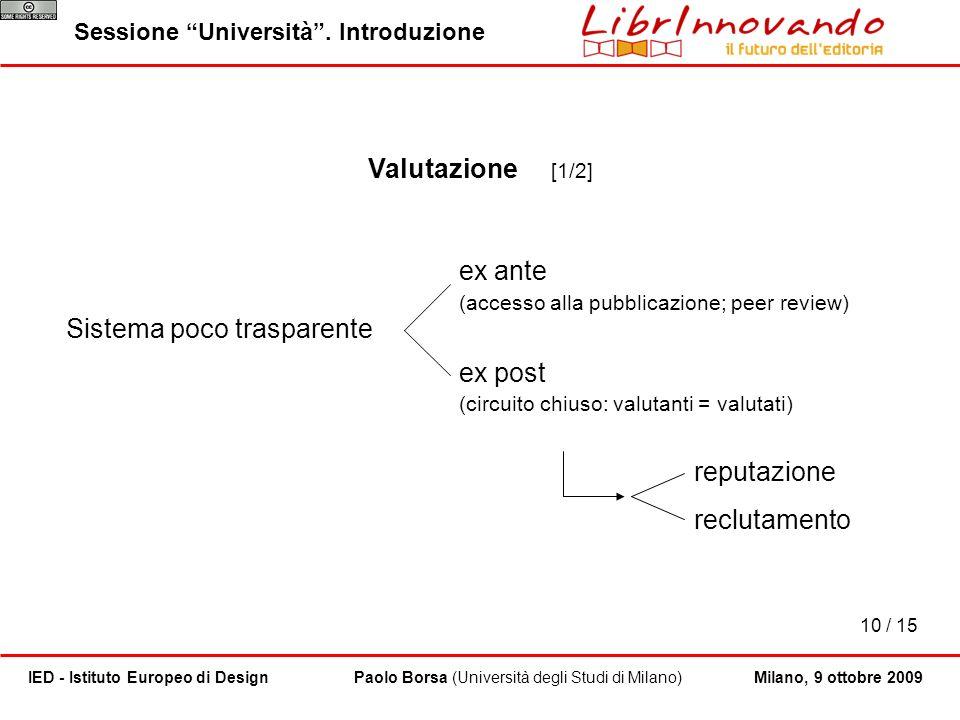 10 / 15 Paolo Borsa (Università degli Studi di Milano)IED - Istituto Europeo di Design Sessione Università. Introduzione Milano, 9 ottobre 2009 Valuta