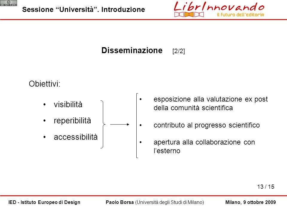 13 / 15 Paolo Borsa (Università degli Studi di Milano)IED - Istituto Europeo di Design Sessione Università. Introduzione Milano, 9 ottobre 2009 Dissem