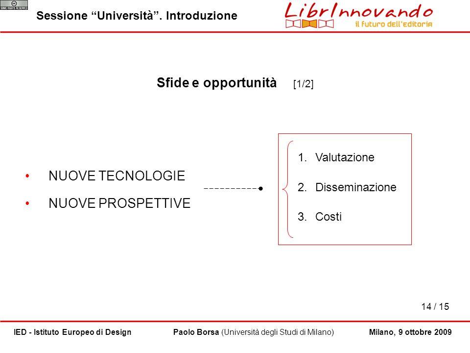 14 / 15 Paolo Borsa (Università degli Studi di Milano)IED - Istituto Europeo di Design Sessione Università. Introduzione Milano, 9 ottobre 2009 Sfide
