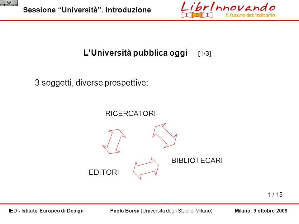 1 / 15 Paolo Borsa (Università degli Studi di Milano)IED - Istituto Europeo di DesignMilano, 9 ottobre 2009 LUniversità pubblica oggi [1/3] 3 soggetti